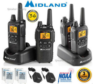 a5116d457a3 4 Pack Midland 30 Mile Two Way Walkie Talkie Radio Set NOAA + ...