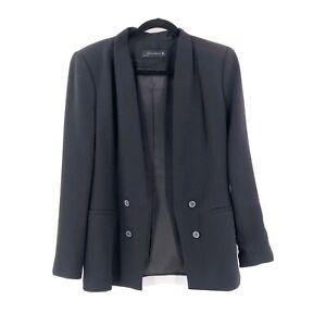 Zara-Womens-Black-Blazer-Size-Large-Open-Front-Classic-Made-In-Spain-Workwear