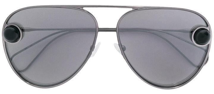 Christopher Kane Black metallic Aviator Sunglasses NEW