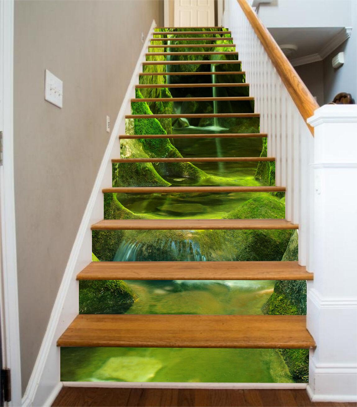3D Grüne Stein 255 Stair Risers Dekoration Fototapete Vinyl Aufkleber Tapete DE