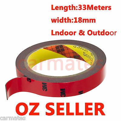 AU STOCK 3M Genuine Automotive Acrylic Plus Double Face Sided Tape 15mm 33Meters