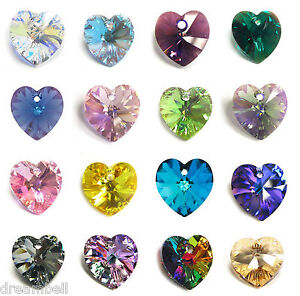 Swarovski-Crystal-6228-Heart-AB-Xilion-Pendant-Element-Many-Color-Size-1
