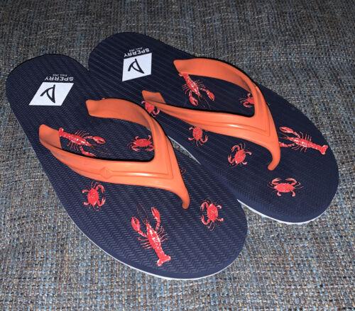 Nwob Sperry Lobster And Crabs Flip Flops Mens 10 Blue Orange Thongs D3
