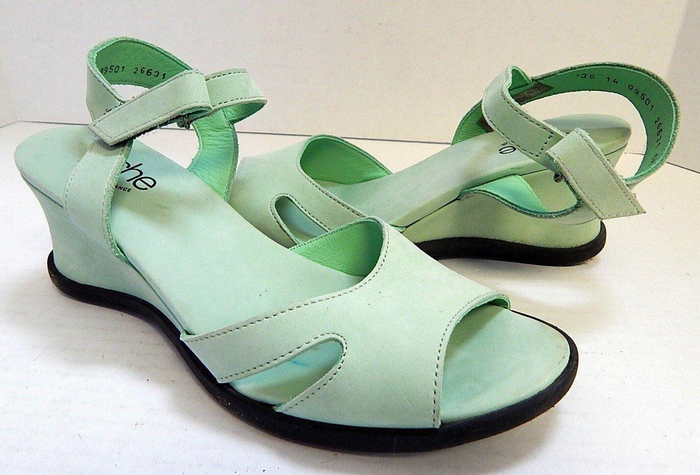 Arche 5M Mint Green Nubuck Suede Leder Strappy Wedge Heels France