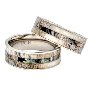 ce6d7ef406ac5 Details about Deer Antler Ring Camo Wood Inlay 8mm Titanium Mens Wedding  Band/Gift