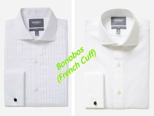 Bonobos Men/'s Long Sleeve White French Cuff Shirts Size 15,15 1//2,16 #F