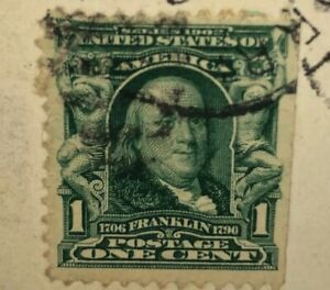 Old-Railroad-PostCard-6-28-1908-With-Ben-Franklin-1-Cent-Stamp-Black-And-White