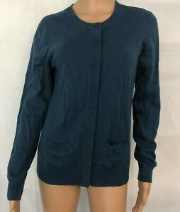 Orvis-Womens-Cardigan-Sweater-Size-S-Small-Blue-Career-Wool-Cashmere-Blend