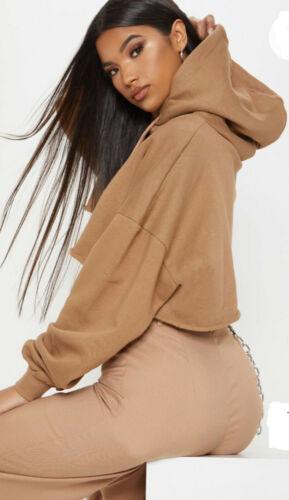 Womens Ladies Crop Length Oversized Baggy Hoodie Rubbing Top Sweater Jumper Gym