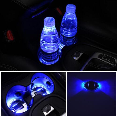 Pair Universal Solar Power LED Cup Holder Pad Blue Car SUV Atmosphere Light Mat