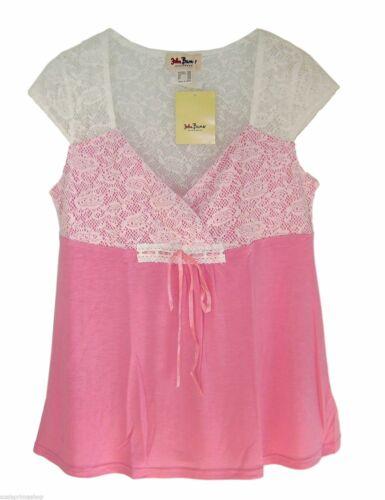 John Baner  Shirt Tunika mit Spitze Longtop Top  Gr 36 38 S   türkis rosa  neu