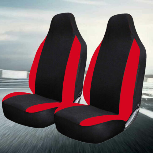 DELUXE BLACK RED RACING CAR VAN FRONT SEAT COVERS PROTECTORS 1+1