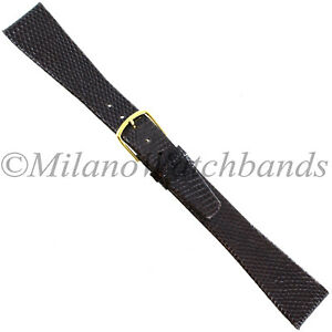 20mm-Gilden-Dark-Brown-Luxury-Flat-Genuine-Wild-Lizard-Tapered-Mens-Band-Long-XL