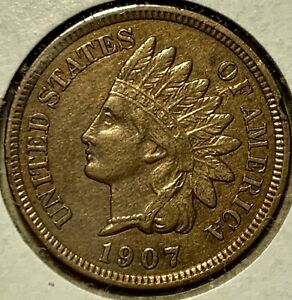 1907-indian-head-penny-1C-Old-US-Cent-Coin-Type-High-Grade-4-Diamonds-Red