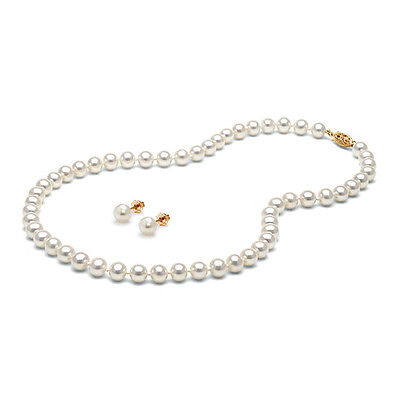 Gorgeous Valentine's Day Nature White Pearl Necklace Earring Set 14k Yellow Gold