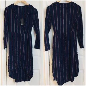 Faithful Rails Womens Nwt Navy Priya Xs Striped Wrap Ruffle Long Sleeve Dress $138 Tie