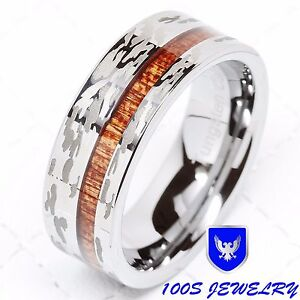 Mens-Tungsten-Ring-Camo-Army-Hunting-Wood-Inlay-Silver-Wedding-Band-Comfort-Fit