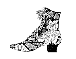 Floral Boot Mounted Rubber Stamp Flowers Victorian
