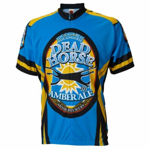 """Moab Brewery Dead Horse Ale beer Men/'s 15/"""" Zip Short Sleeve Cycling Jersey"""