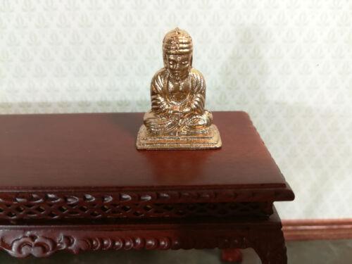 Dollhouse Miniature Small Buddha Statue Gold Tone Metal Statue 1:12 Scale