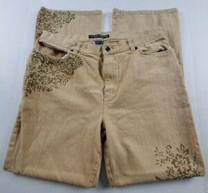 Ralph-Lauren-Jeans-Co-Womens-Sz-14-Flare-Leg-High-Waist-Tan-Denim-Floral-Print