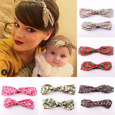 2pcs Mama & Baby Floral Flower Bow Knot Headband Rabbit Ears Fashion Hair Band