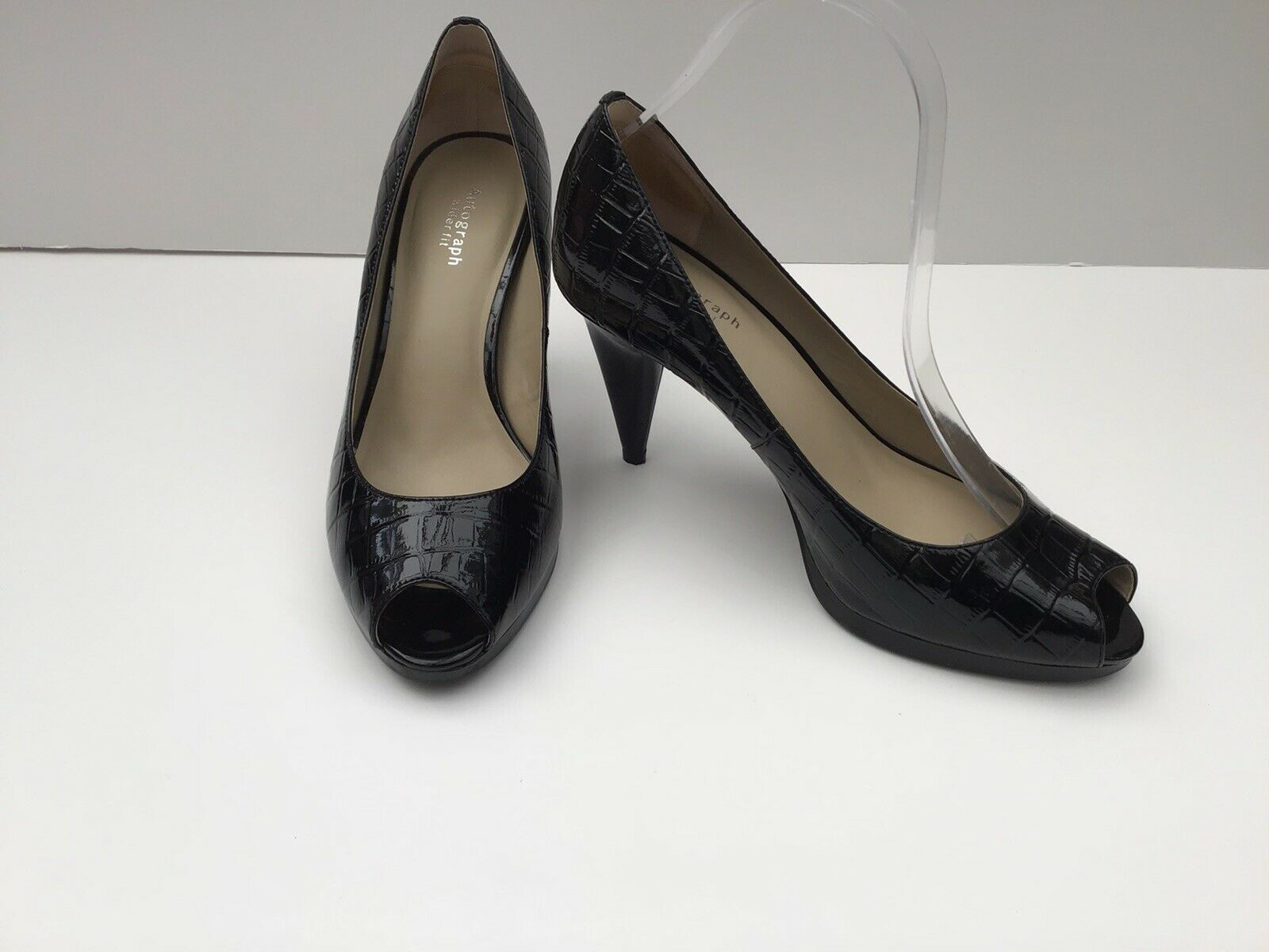 M&S Autograph Black Patent Peep Toe High Heeled Wide Fit shoes Size 6