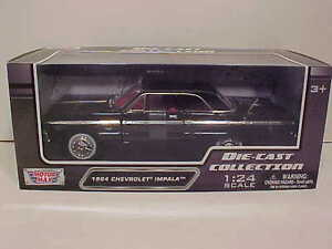 1964-Chevy-Impala-Coupe-Hard-Top-Die-cast-Car-1-24-by-Motormax-8-inch-Black