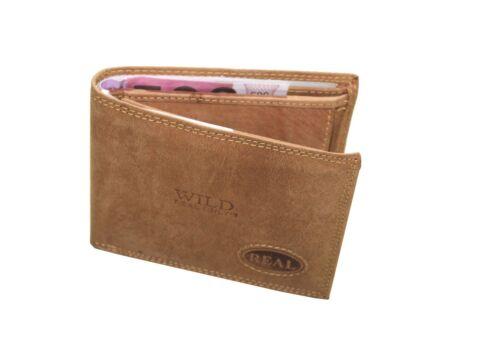 Hochwertig Leder Geldbörse Brieftasche Portemonaie 9x12cm in Braun  W7