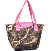 Realtree  camouflage tote bag with flapover top snap closure - camouflage/pink