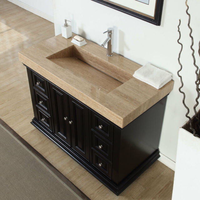 48 Inch Modern Bathroom Single Vanity Cabinet Travertine Top Ramp Sink 0284T