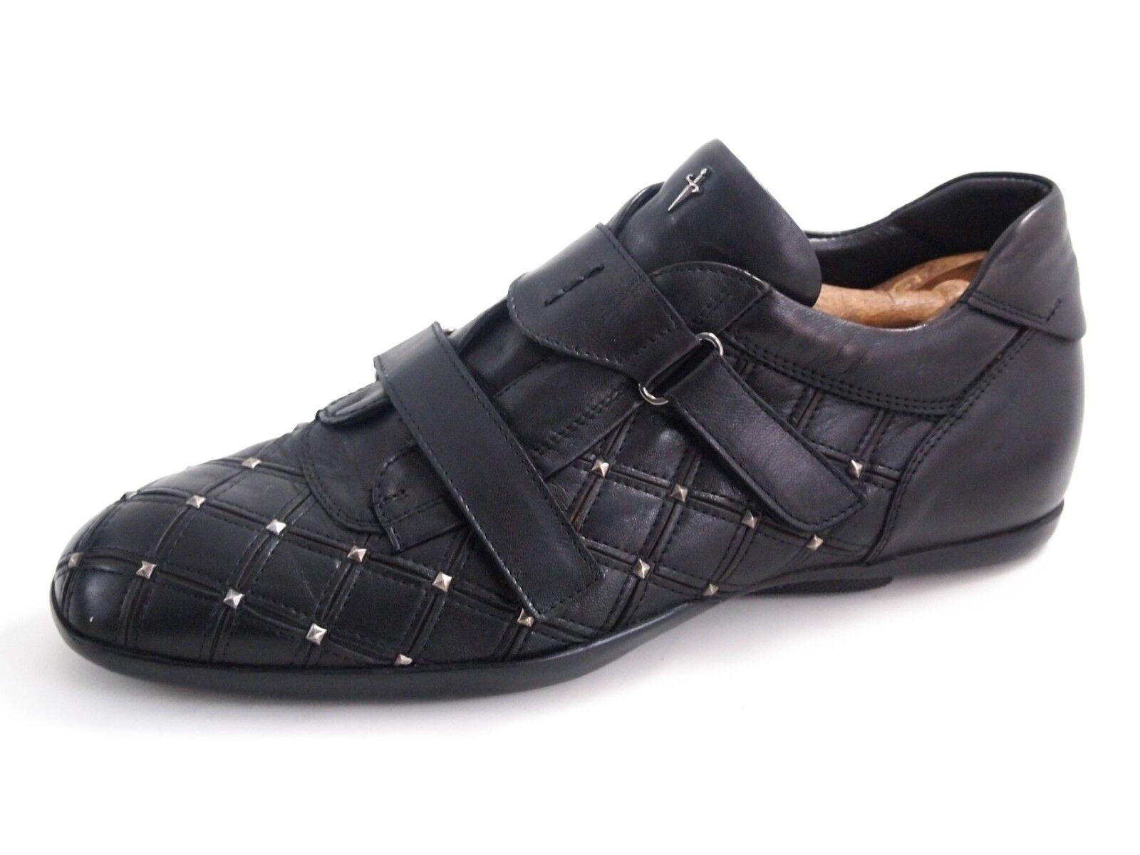 Cesare Paciotti tachonado Zapatillas, cuero negro, zapatos de hombre talla