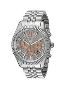 New-Michael-Kors-Lexington-Silver-Rose-Gold-Pave-Chronograph-MK8515-Men-039-s-Watch