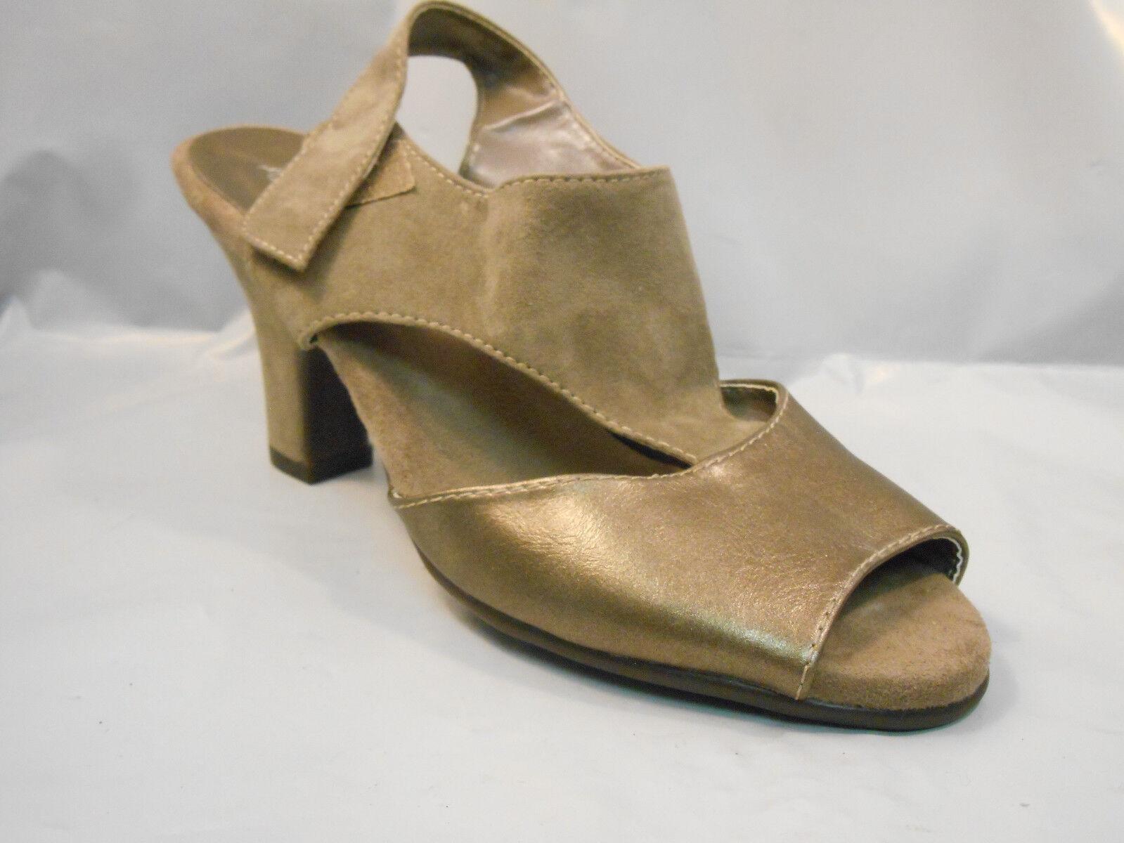 Aerosoles Taupe Brown Metallic Leather Peep Toe Heel Sandals Ankle Ankle Sandals Strap Sz 7 M 618892