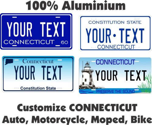 Connecticut Custom Personalized Car Motorcycle Moped Bike Bicycle License plate
