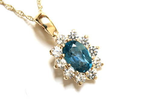 9ct Gold London Blue Topaz Pendant and Chain Gift Boxed Necklace Made in UK