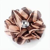 Peach Brown Tone Animal Print Flower and Stone Hair Beak Clip Slide Accessories