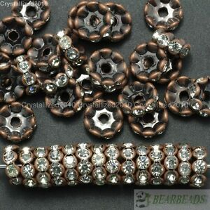 100-Czech-Crystal-Rhinestone-Copper-Wavy-Rondelle-Spacer-Beads-4mm-6mm-8mm-10mm