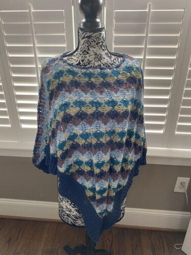 Missoni Poncho Blue Zigzag Boho Crochet Mohair Swe