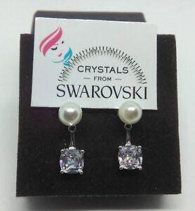 Orecchini-argento-925-cristalli-Swarovski-Perle-punto-luce-donna-ragazza