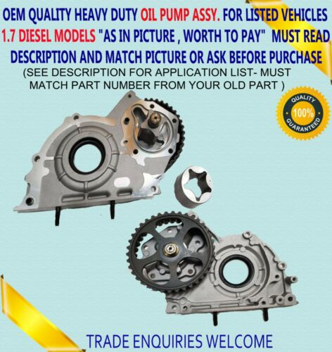 VAUXHALL ASTRA CORSA COMBO MERIVA 1.7 DIESEL OIL PUMP /& PULLEY 98060385 COMPLETE