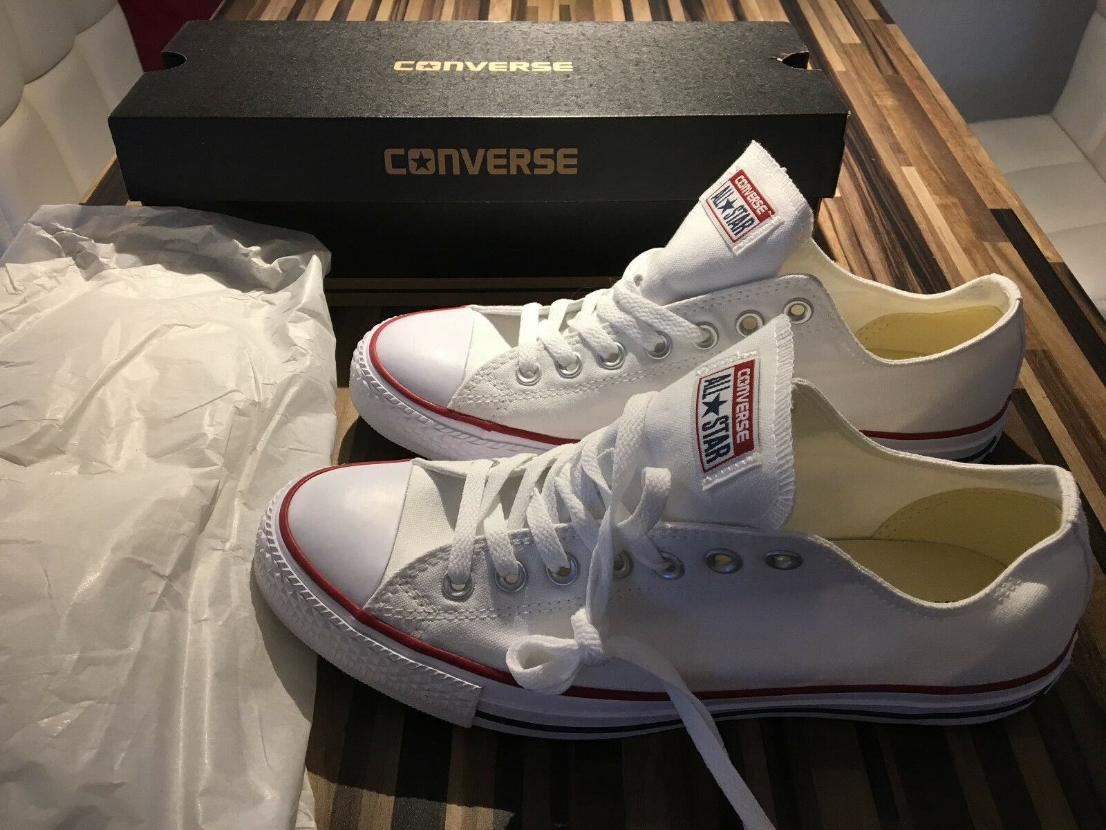 Converse Chucks All Star White Schuhe Sneaker Herren 43 US 9.5 Weiß - TOP Neu