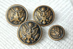 Lot of (4) Vintage US Military Uniform Eagle Buttons  - B16