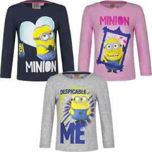 90ad9db24f4 New girls licensed Despicable Me Minions t-shirts long sleeve crew ...