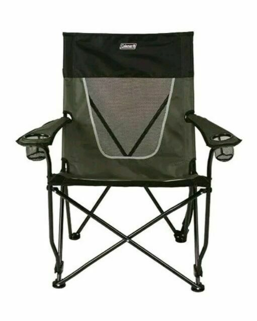 Coleman Ultimate Comfort Folding Sling Chair Gray 400lb Capacity 2 Cup Holders for sale online