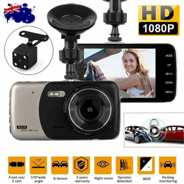 "4"" FHD 1080P Dual Lens Car Dash Cam Front and Rear Camera DVR Recorder Video AU"
