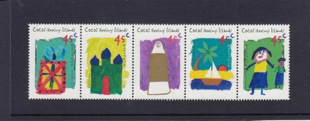 COCOS Islands 1998 CHILDREN's ART Strip set of 5 MNH