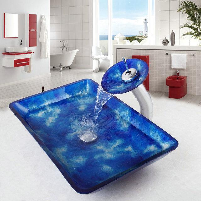 Rectángulo monobloque de vidrio cuarto de baño Grifo Cromado De Lavabo Cuenca Cuenco conjunto de drenaje