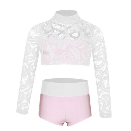 Girls Sports Dance Outfit 2PCS Gymnastics Ballet Crop Tops+Bottoms Set Dancewear