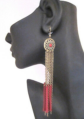 Sexy Long dangly chain earrings suede look tassels in burnished gold red crystal